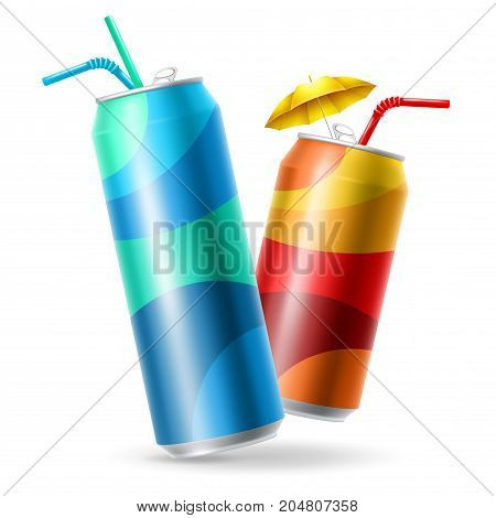 Set of realistic metallic cans for soft drink. Opened metallic cans with straw ready for new design. 500 and 300 ml. Isolated vector illustration