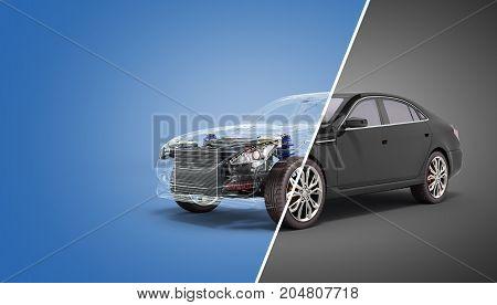 Car Diagnostic Concept Black Car Studio View 3D Render Image