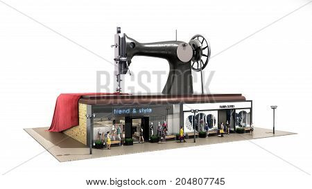 Garment Industry A Concept For The Production Of Branded Clothes Sewing Machine Is On The Roofs Of B