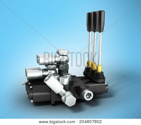 The Concept Of A Hydraulic Distributor On The Right 3D Render On A Blue Background