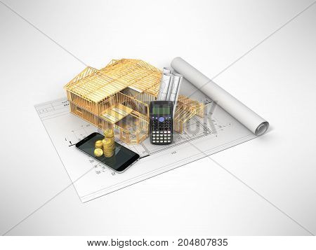 The Concept Of Construction Calculations. The Frame Of The House. Money 3D Render On Gray Background