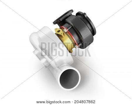Turbine To Car Gold 3D Render On White Background