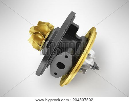Concept Cartridge To Turbine On Auto Gold 3D Render On Gray Background