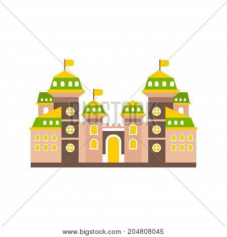 Colorful fortress or stronghold with fortified wall and towers, medieval building vector illustration isolated on a white background