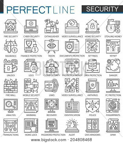Security outline mini concept symbols. Data PC Protection technology modern stroke linear style illustrations set. Perfect thin line icons