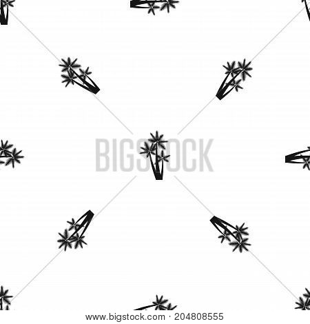 Three tropical palm trees pattern repeat seamless in black color for any design. Vector geometric illustration