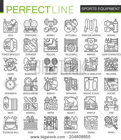 Sport equipment outline mini concept symbols. Modern stroke linear style illustrations set. Perfect thin line icons