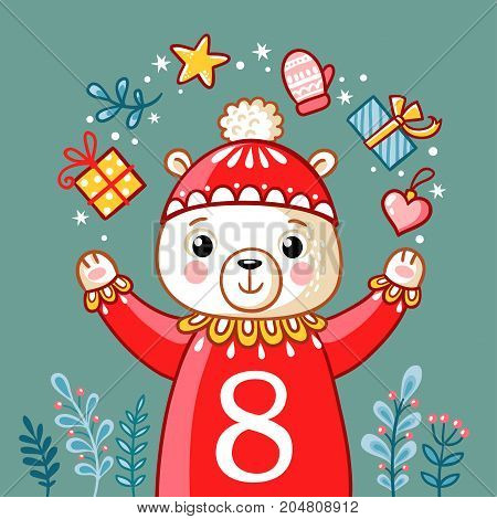 Vector Christmas advent calendar in childrens style. Christmas polar bear juggles with gifts. Cute illustration with animals. poster