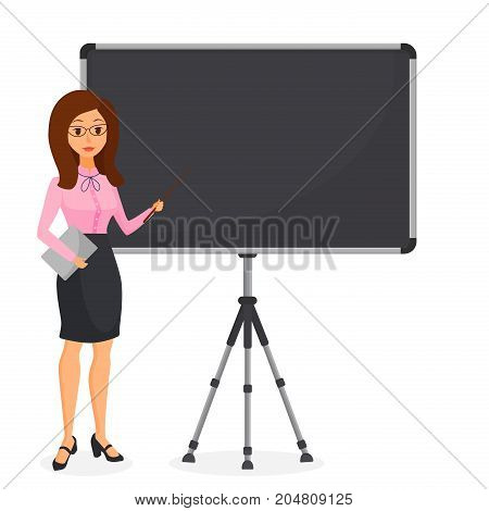 Cute young business woman pointing at empty flip chart. Female character making presentation. Vector illustration