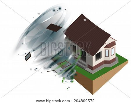 Strong wind hurricane ripped off roof of house. Home Insurance. Isolated on white vector 3d realistic illustration