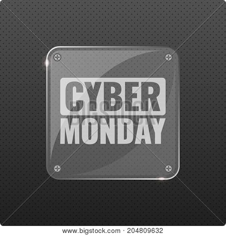 Cyber Monday sale hi-tech background, online shopping and marketing concept, technology vector illustration with glass transparent plate. Retailing and discount theme. Flyer, poster template.