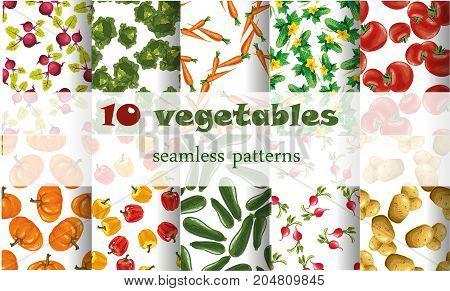 10 mixed vegetables seamless patterns set stock art