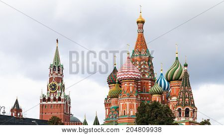 View Of Pokrovsky Cathedral And Spasskaya Tower