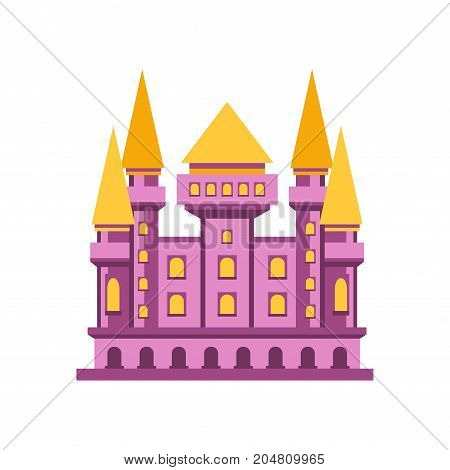 Purple fairytale royal castle or palace building vector illustration isolated on a white background