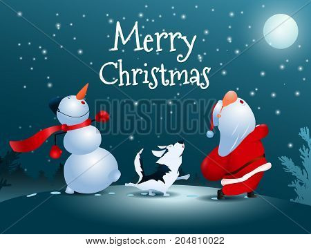 Merry Christmas! Singing Santa Claus dog and snowman. Christmas snow scene. Walking Under the Moon