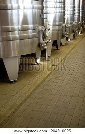 Aluminum tanks in a French winery near Bordeaux