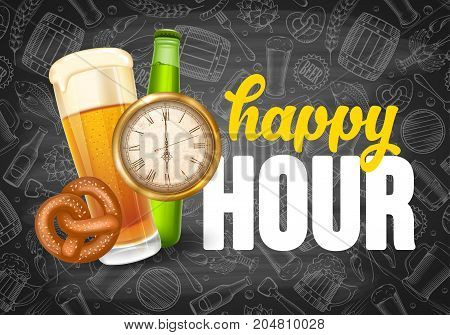 Happy Hour. Free beer. Vintage illustration template for web poster flyer invitation to party. Vector stock illustration.