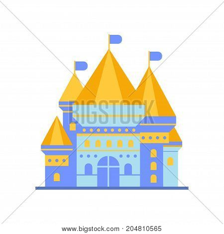 Light blue fairytale royal castle or palace building with golden roof vector illustration isolated on a white background