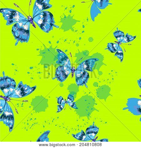 Vector seamless pattern with butterfles in green color stock vector