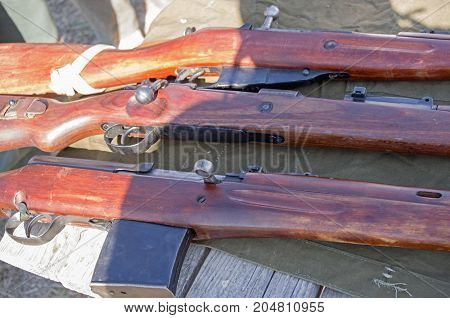 several old rifle of period 1941-1945 years