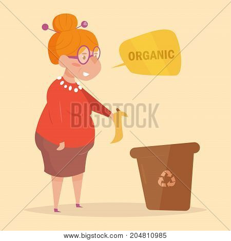 Organic. Separate sorting garbage. Vector. Cartoon. Isolated art on white background Flat