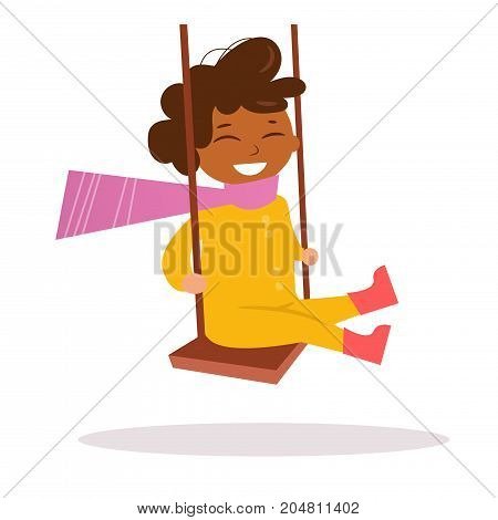 African-American boy swinging on a swing. Vector. Cartoon. Isolated art on white background. Flat.