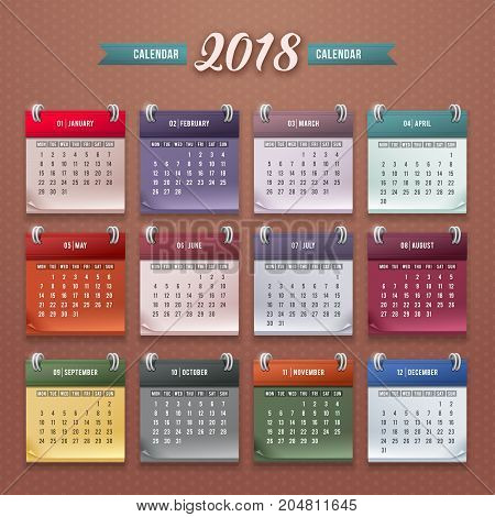Design of wall monthly calendar for 2018 year. Print template with set of 12 month. Week starts monday. Vector.