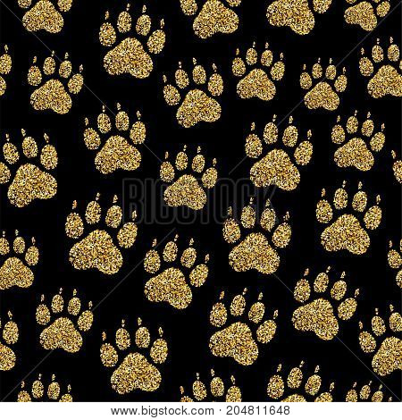 Vector golden glitter dog paw print seamless pattern animal foot stamp endless texture