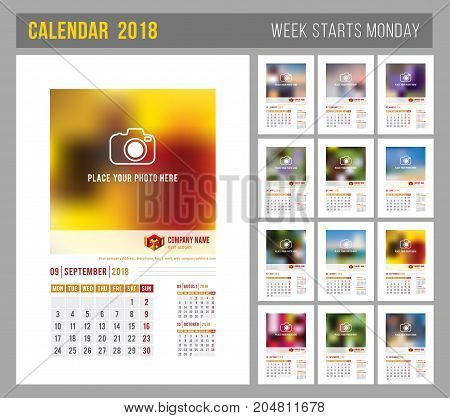 Design of wall monthly calendar for 2018 year. Print template with place for photo your logo and text. Week starts monday. Portrait orientation. Set of 12 months. Vector.