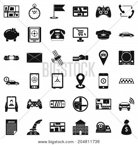 Button icons set. Simple style of 36 button vector icons for web isolated on white background