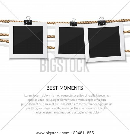 Instant photo collection. Enjoy every moment. Vector photo hanged on rope. Retro fotos on a thread.