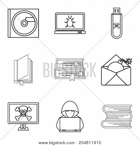 Memory device icons set. Outline set of 9 memory device vector icons for web isolated on white background