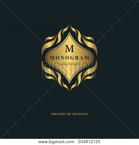 Monogram design elements graceful template. Calligraphic elegant line art logo design. Letter emblem sign M for Royalty business card Boutique Hotel Heraldic Jewelry. Vector illustration