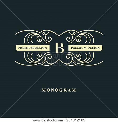 Line graphics monogram. Elegant art logo design. Letter B. Graceful template. Business sign identity for Restaurant Royalty Boutique Cafe Hotel Heraldic Jewelry Fashion. Vector elements