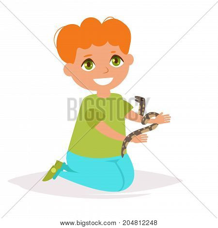 Boy with the snake. Vector. Cartoon. Isolated art on white background. Flat