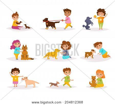 Children with different breeds of dogs. Vector. Cartoon. Isolated art on white background. Flat