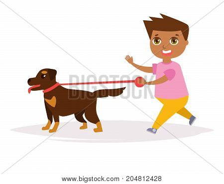 Boy and a Rottweiler. Vector. Cartoon. Isolated art on white background. Flat