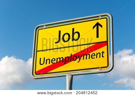 Yellow Street Sign With Job Ahead Leaving Unemployment Behind