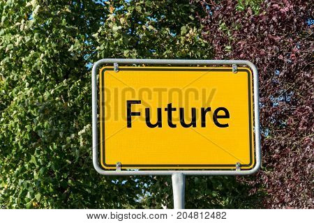 Yellow Street Sign With Future Ahead