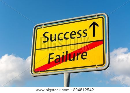 Yellow Street Sign With Success Ahead Leaving Failure Behind