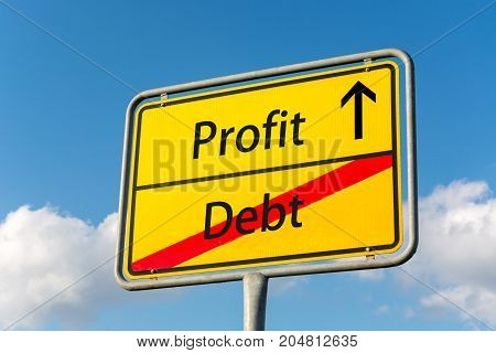 Yellow Street Sign With Profit Ahead Leaving Debt Behind