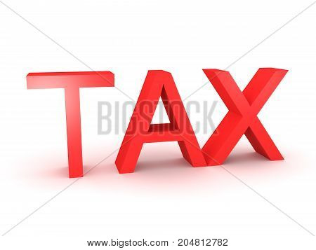 3D illustration of red TAX tex sign. Isolated on white.