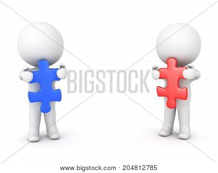 Two 3D Characters holding red and blue puzzle pieces. Isolated on white.
