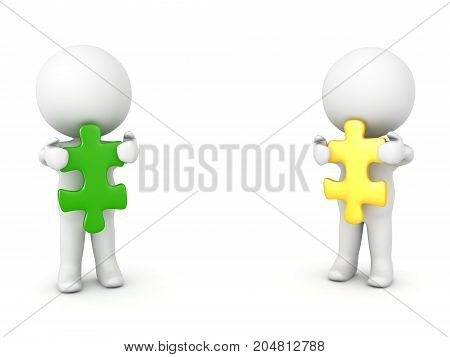 Two 3D Characters holding green and yellow puzzle pieces. Isolated on white.
