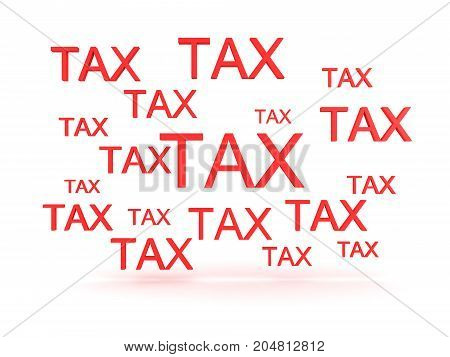 3D illustration depicting many signs saying TAX. Isolated on white.