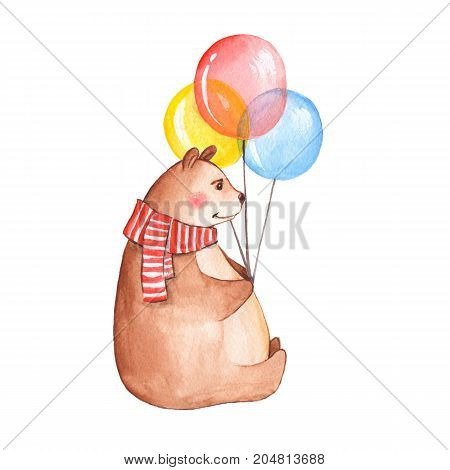 Bear with balloons. Watercolor illustration, isolated on white