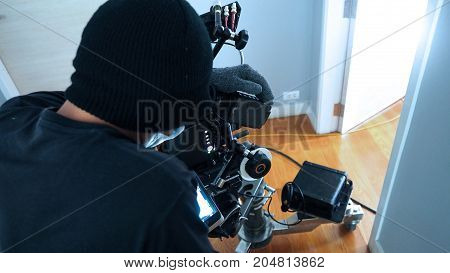 Photographer Shooting Video Production With Camera Set.