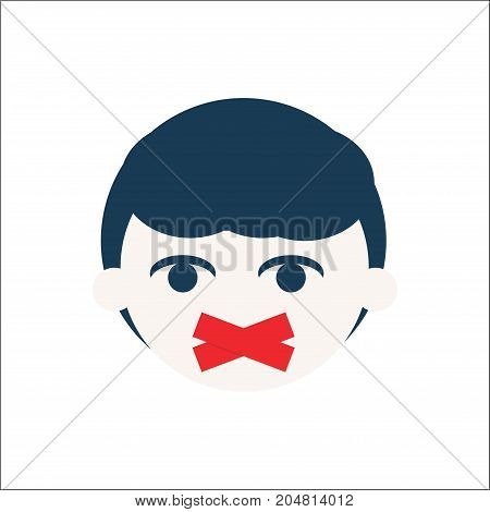 A Kid with duct tape on his face. Speak out about bullying or children rights concept poster. Illustration about childhood trauma child traumatic or domestic violence experience and society silence.