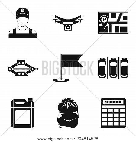Parking place icons set. Simple set of 9 parking place vector icons for web isolated on white background