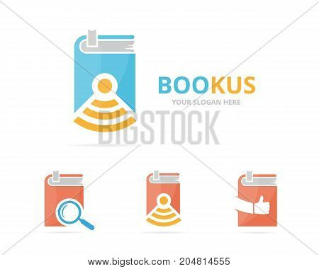 Set of book logo combination. Novel and signal symbol or icon. Unique bookstore, library and radio, internet logotype design template.